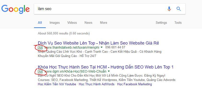 Quảng cáo trên công cụ tìm kiếm bằng google adwords