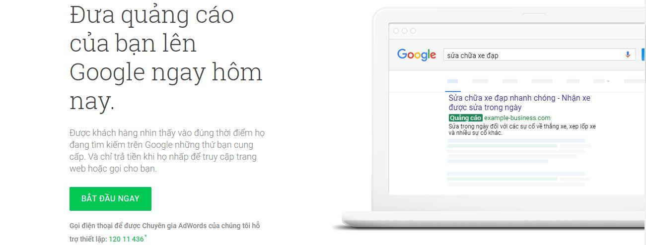 Bước 2 click vào bắt đầu ngay của đăng ký google adwords