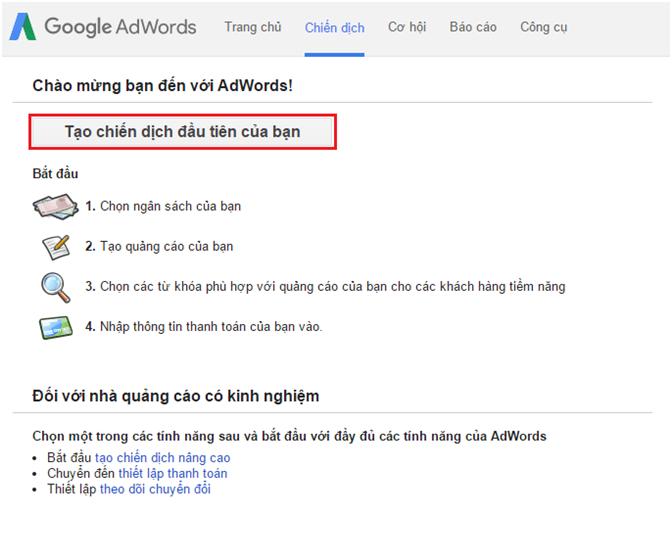 Cài đặt google adwords thành công