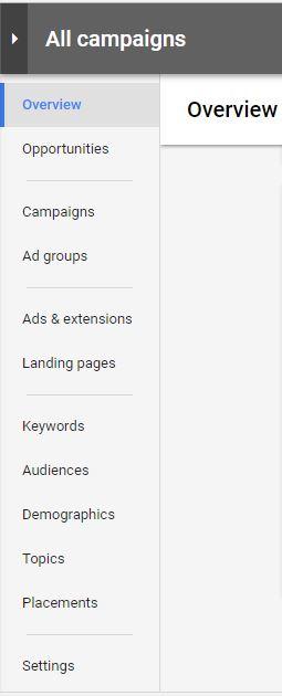 Thanh điều hướng bên trái của Google Adwords