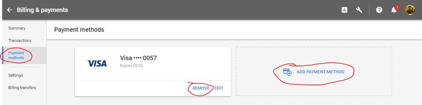 Thêm hoặc xóa hình thức thanh toán Google Adwords