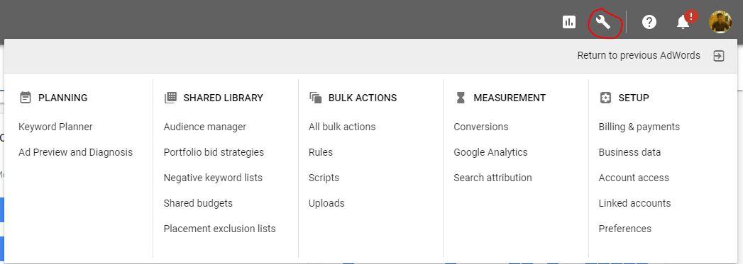 Các công cụ khác và Thiết lập tài khoản Google Adwords